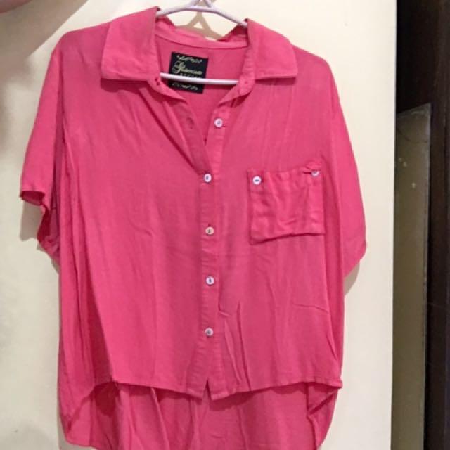 Neon Pink Collared Crop Top