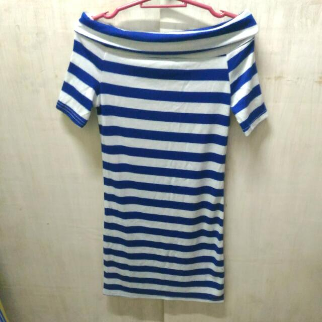 Off Shoulder Blue And White Stripes Dress