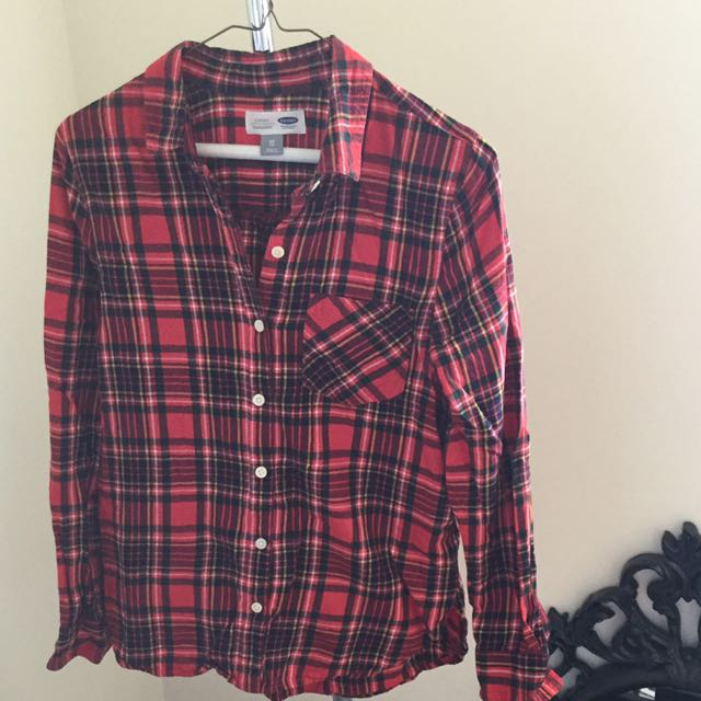 Old Navy Red Plaid Button Up