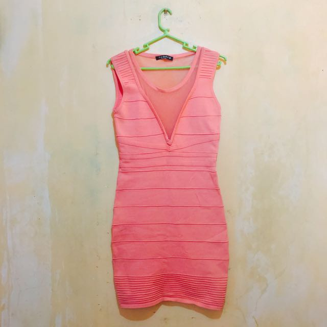 Peach Coral Bandage Dress