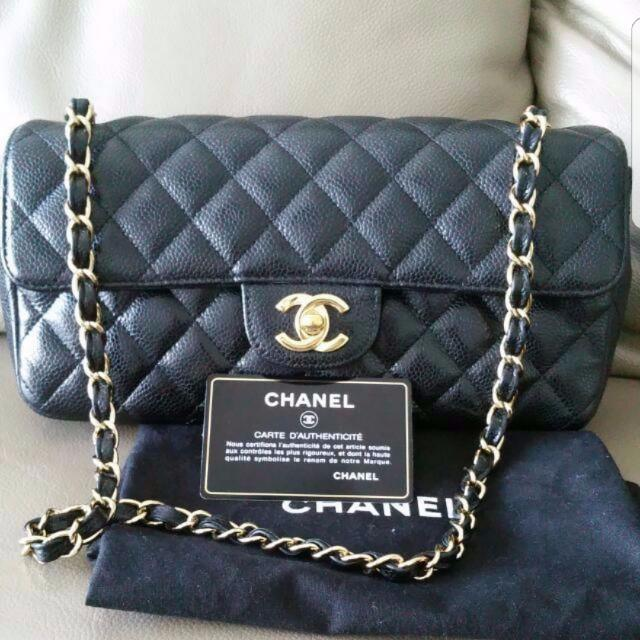 9bbc3472bace86 Price Lower! Good Condition Chanel East West Caviar Flap GHW, Luxury ...