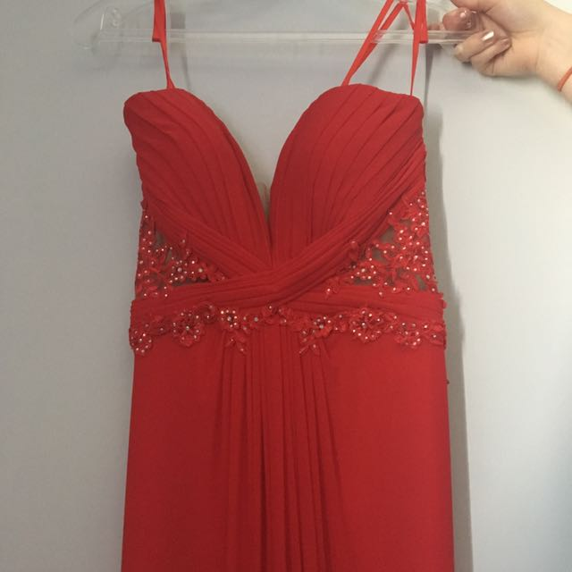 Red, Beaded Evening Gown