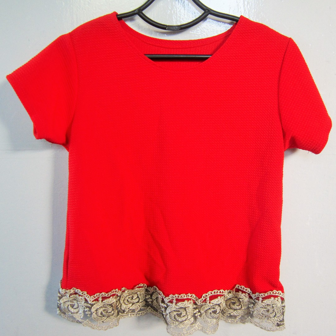 Red top w/ lace details