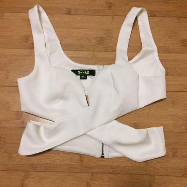 Rehab Clothing White Crop Size M/L 10-12
