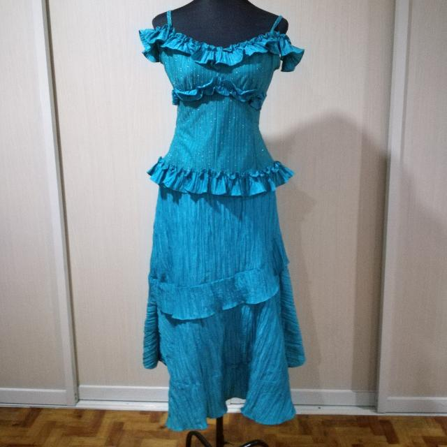Medium Teal Blue Terno Gown