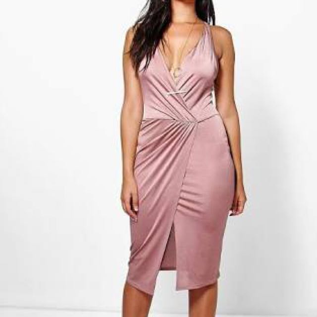 PINK SLINKY WRAP DRESS