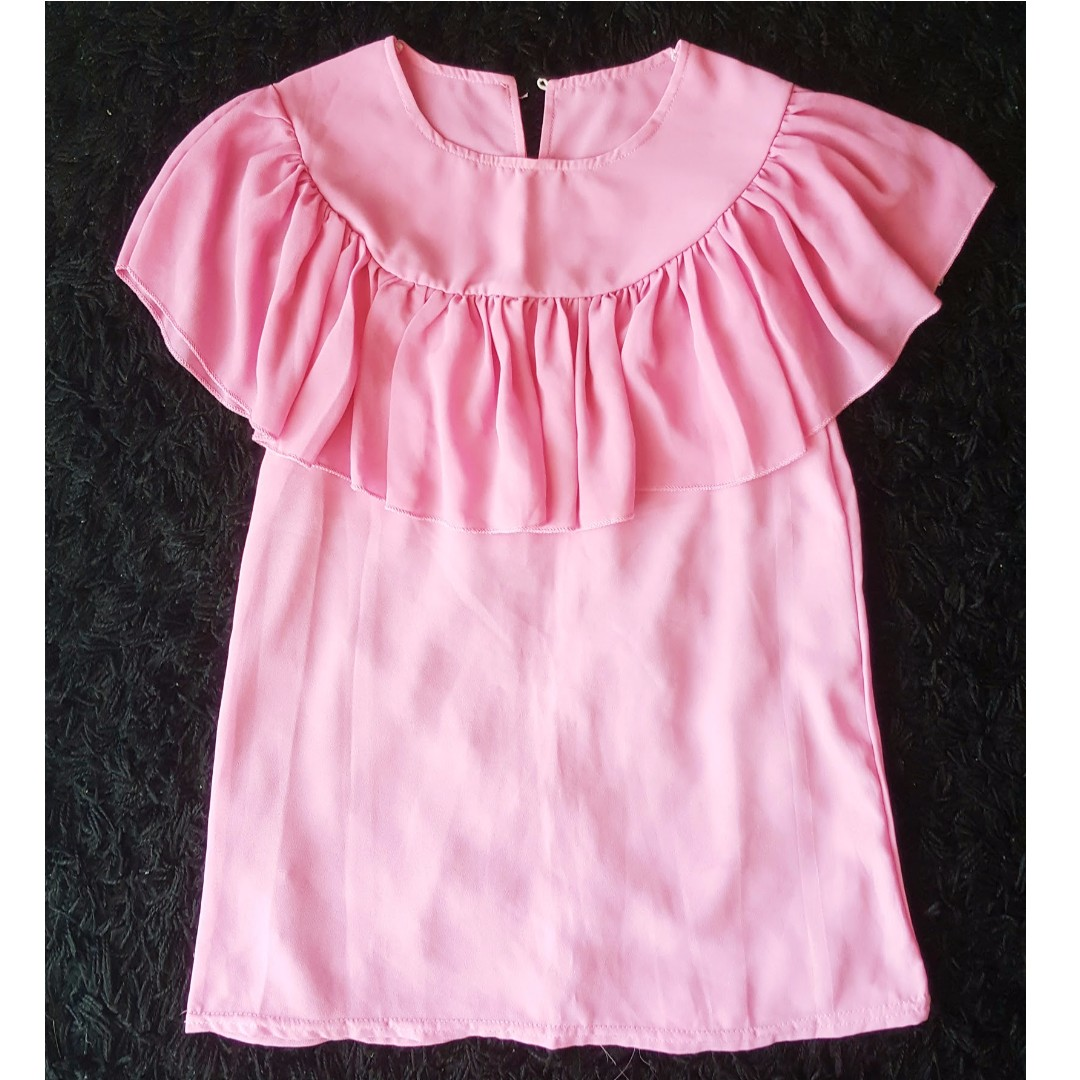 Soft Chiffon Top . Lace Front Design . Sweet Pink . Summer