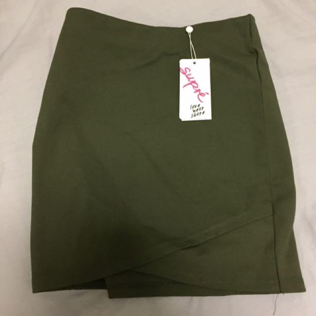 Supre Khaki Bodycon Mini Skirt Xs