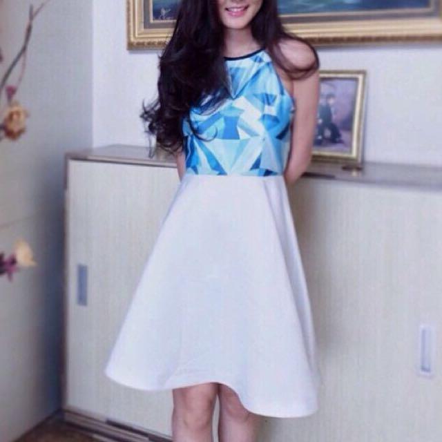 Thick Silk Sateen Blue Ddiamond Dress
