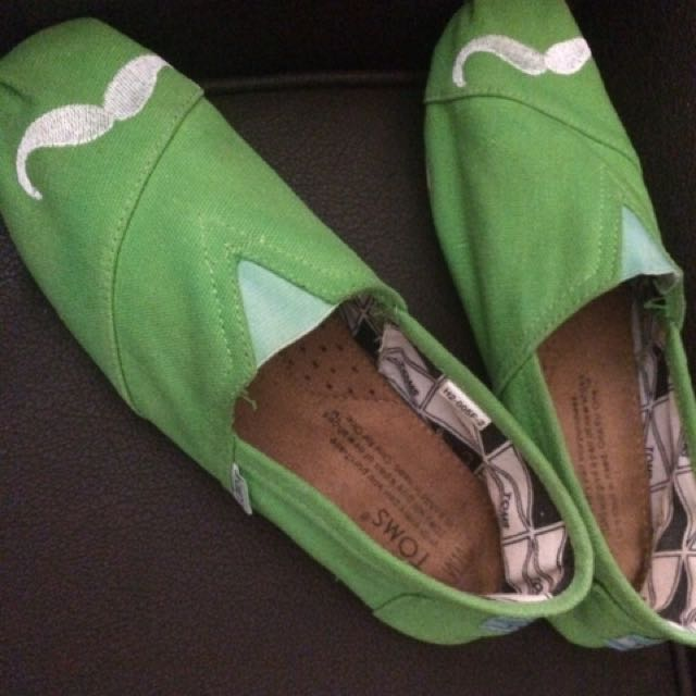Toms Shoes Green With Mustache