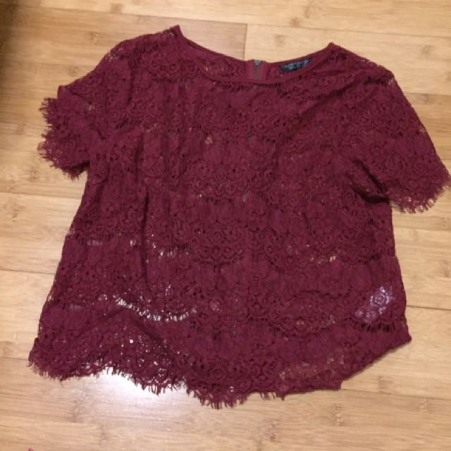 Topshop Red Lace Top Size 8