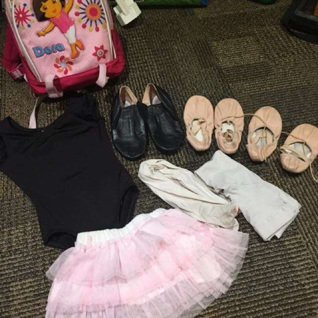 Two Pairs Of Ballet Shoes, One Pair Of Jazz Shoes, Ballet Tights And Top. Back Pack Is Free