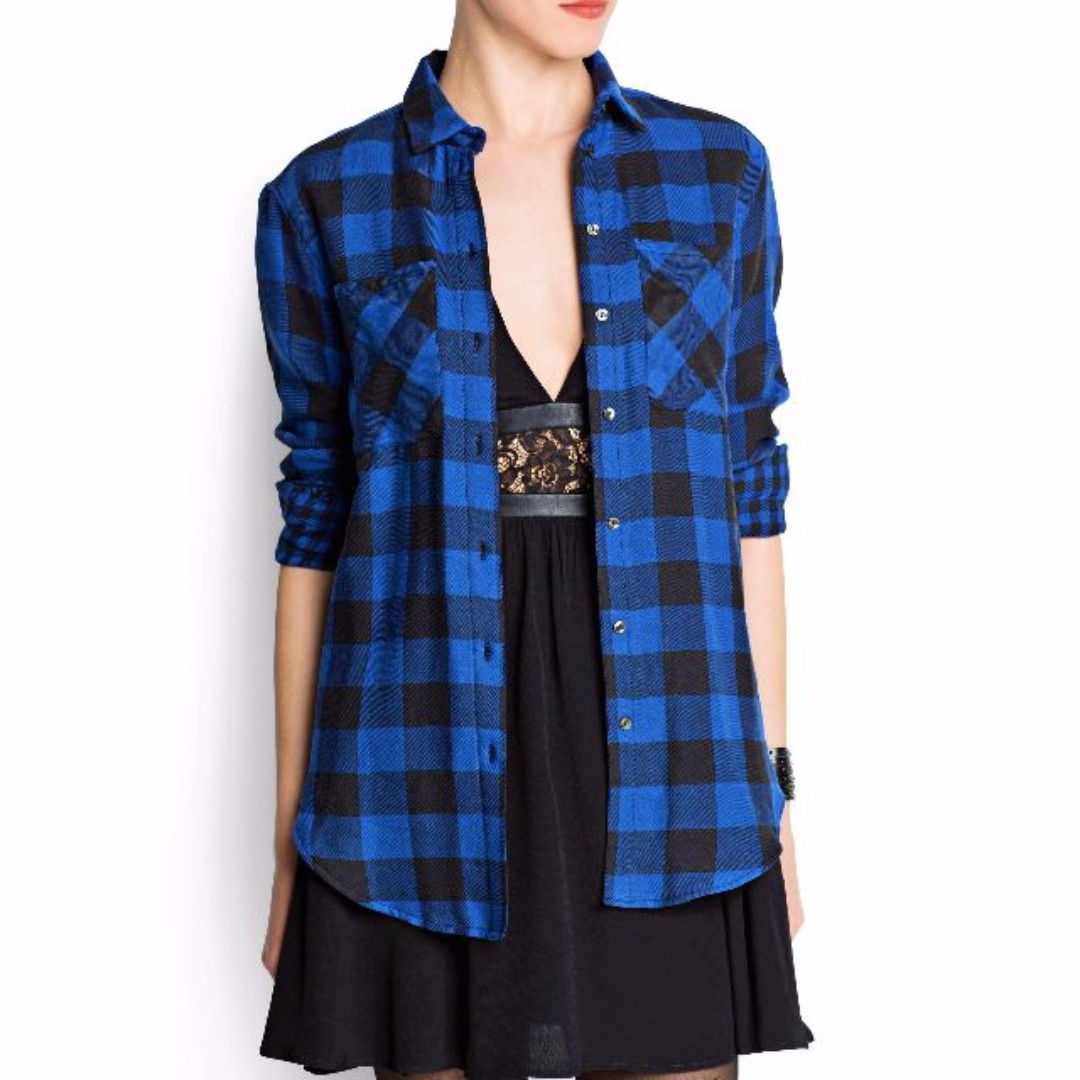 443b8039 💕UNIQLO Blue Black Checkered Plaid Flannel / Button Up Shirt 💕, Women's  Fashion, Clothes, Tops on Carousell