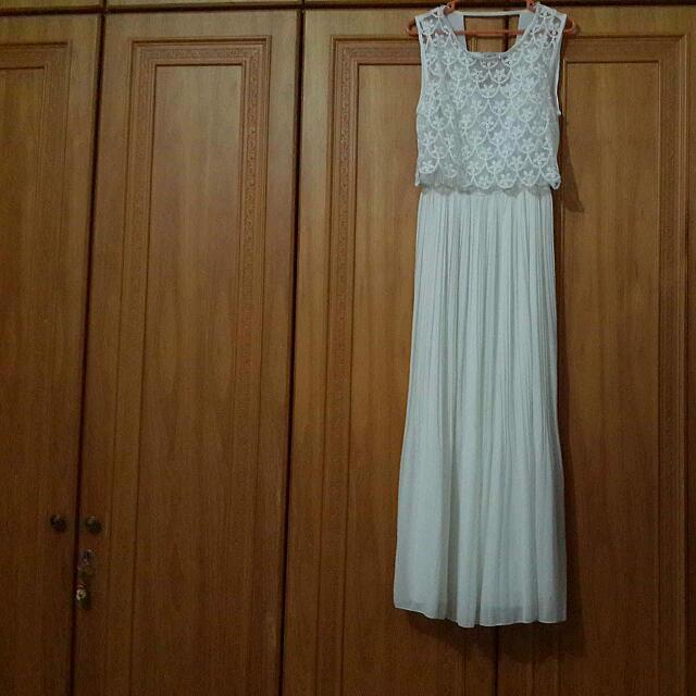 White Scallop Long Dress