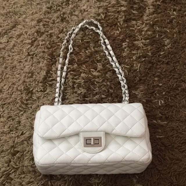 White Waffled Shoulder Bag