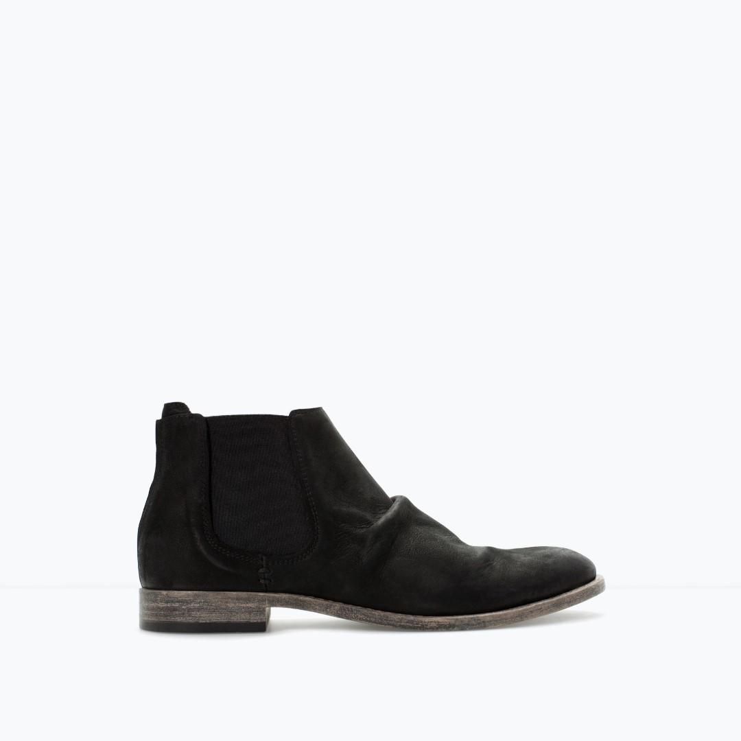 ZARA - Black Vintage Leather Boots - 100% ORIGINAL