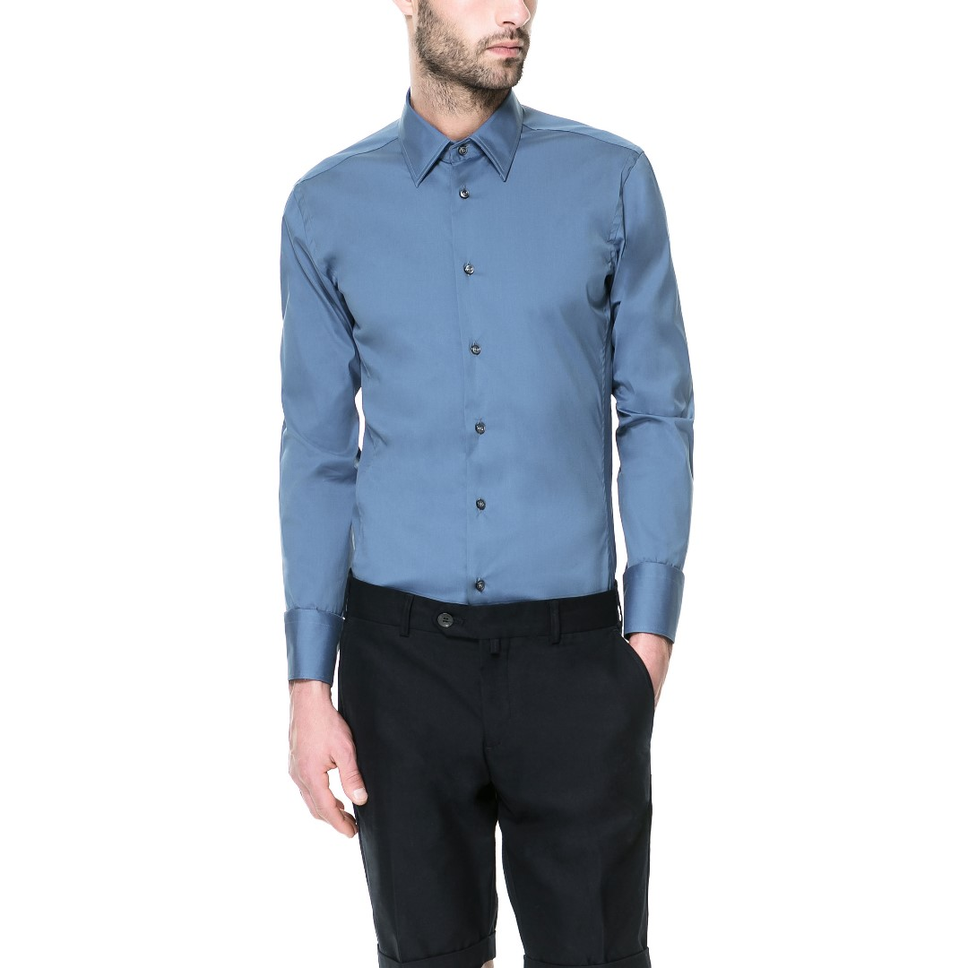 ZARA - Blue Slim-Fit Shirt - 100% ORIGINAL