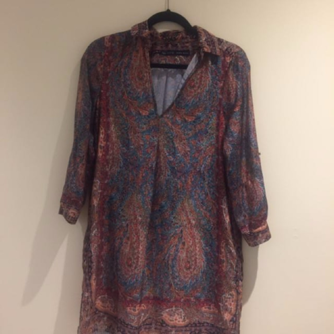 Zara Silky Shirt Dress - Small