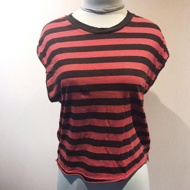 ZARA TRF Black/Red Stripe Tshirt