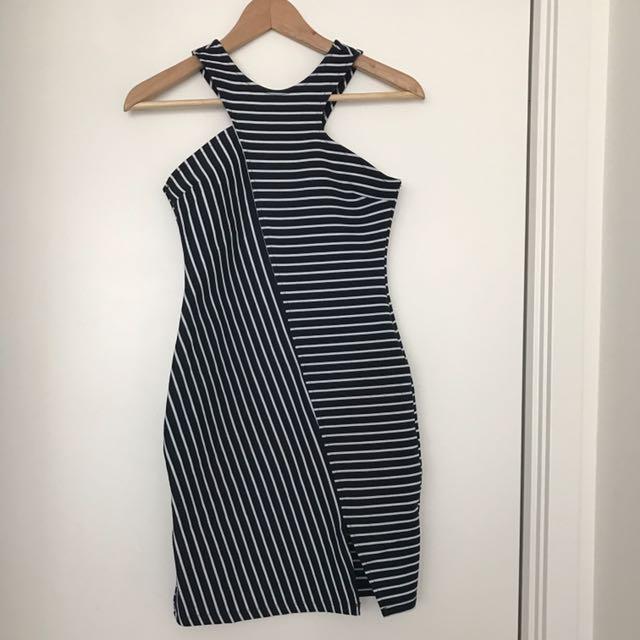 ZARA TRF Fitted Striped Dress