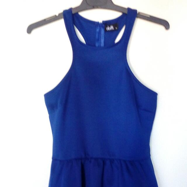 Zip Up Peplum Cobalt Blue