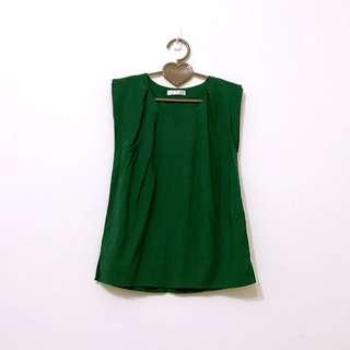 韓版墨綠色深綠色打摺V領無袖棉麻上衣