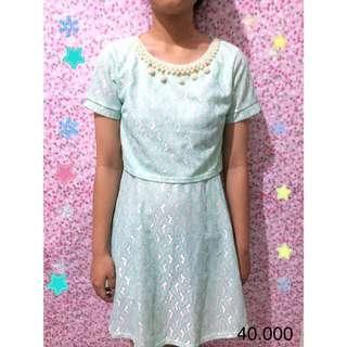 Biru Pastel Brukat Dress