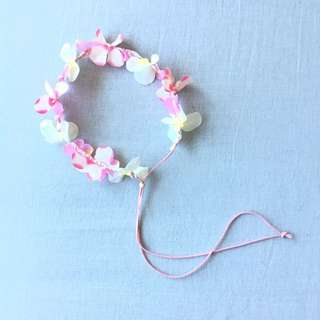 Reduced Adjustable Pink Leather Flower Headband Festival Boho Bohemian Accessory