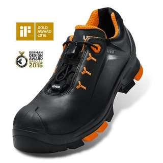 Uvex 6502 Uvex 2 Lightweight Safety Shoe Black/Orange Size 46 UK11