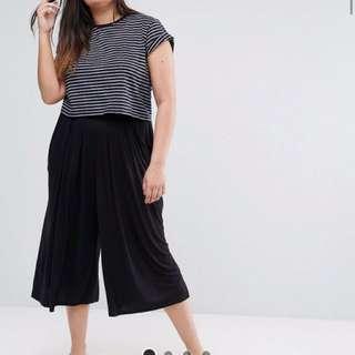 ASOS CURVE Pleated Wide Leg Culotte Trouser