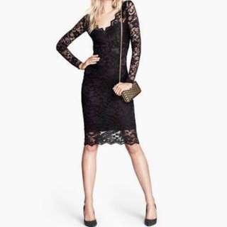 H&M black lace dress