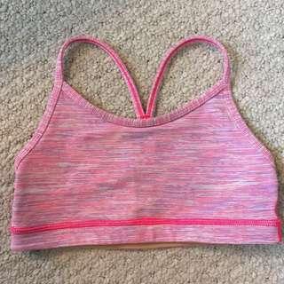 Lululemon Flow Y Bra In Light Pink/purple Space Dye Wee Stripe (SIZE 2)