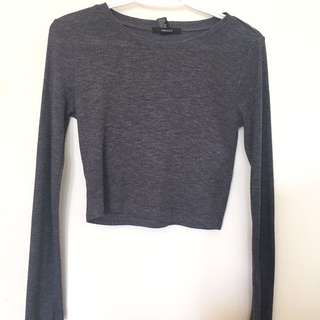 Dark Grey Long Sleeve Crop Top