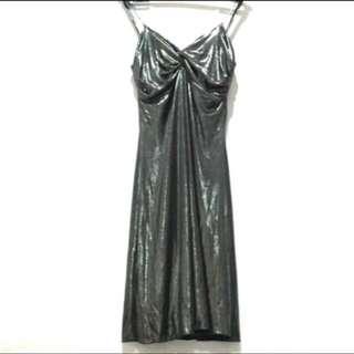 MANGO Metallic Evening Dress
