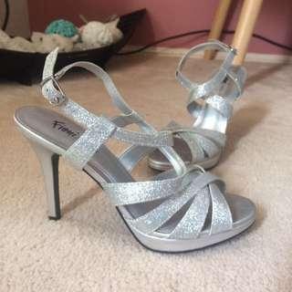 Silver Formal Heel Shoes.