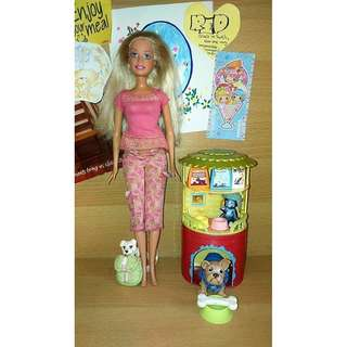Barbie Doll with Dogs, Cat and Accessories (House, Food, etc)