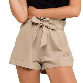 Paper Bag Waist Tie Up Shorts