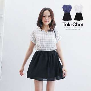 Toki Choi Dress in Plaid Top and Skirt