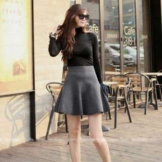 High Waisted Mini Skirt - Grey