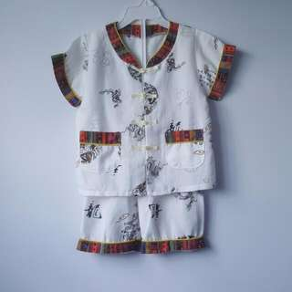 Chinese Traditional Clothing Boy's Set In White