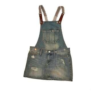 #百元全新女裝 仿破舊藍色牛仔吊帶裙(低腰款) bleached destroyed look denim dress skirt