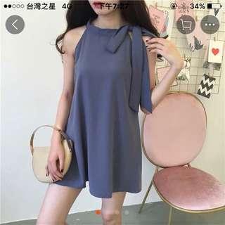 削肩連身裙洋裝