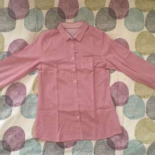 PULL&BEAR RED AND WHITE STRIPES SHIRT