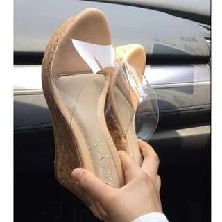 ALICE SELECT 灰姑娘的玻璃魚口鞋 木紋高跟鞋 透明涼鞋 PVC 鬆糕鞋 羊皮 牛皮