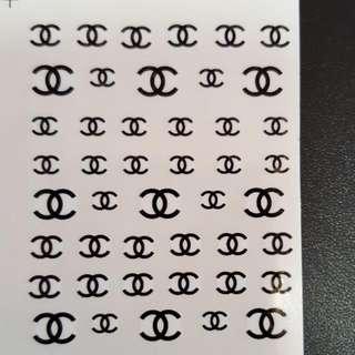 Water Nail Art Sticker Chanel Logo