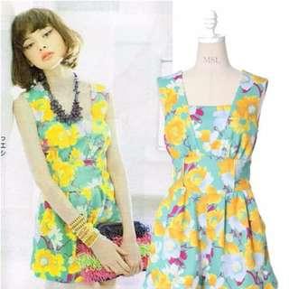LENA vivi雜誌同款lily brown夏季絢爛花朵背心連體裙褲