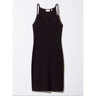 Aritzia Black Ribbed Dress