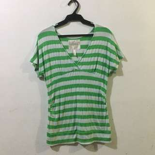 KAMISETA (GREEN & WHITE STRIPES)