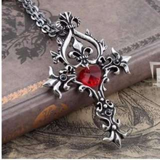 Vampire Diaries Red Sacred Heart Memorial cross Crystal necklace pendant