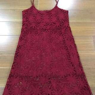 Woman Red Lace Flower Pattern Dress